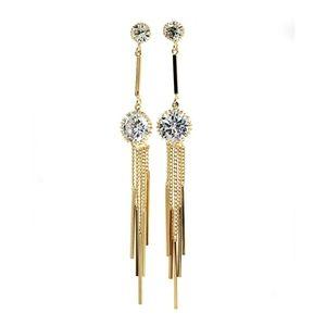 Gold elegant long tassel crystal earrings